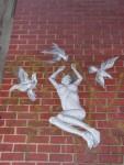 Woman flies withbirds