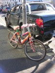 Yarnbombed bycicle